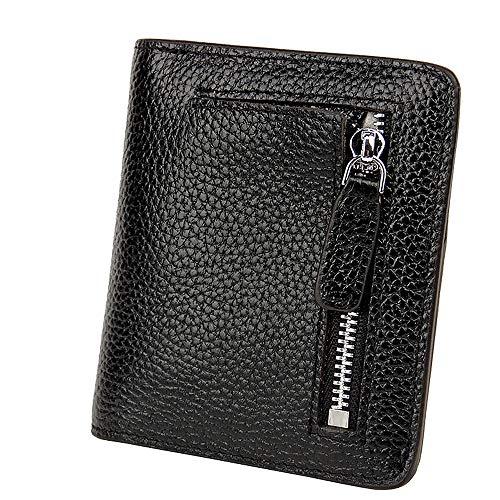S-ZONE Damen Weich Rindsleder klein Compact Geldbörse Portemonnaie mit Reißverschluss Pocket ID-Fenster