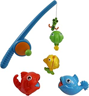 Liberty Imports Rod and Reel Fishing Game Bath Toy Set for Kids with Fish and Fishing Pole
