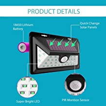 Sampri Security 32 LED Solar Powered Wireless Waterproof 2 Modes Motion Activated, Wide Angle Sensor Light for Outside Wall with Front Switch