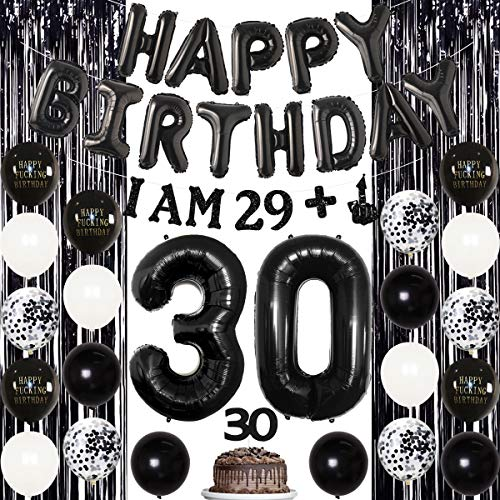 Black 30th Birthday Decorations for Her Him, Funny 30th Birthday Decorations, Birthday Party Supplies for Men Women - I AM 29+1 Banner Cake Topper for Rip 20s Birthday Decorations