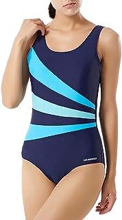 LULUWINGX Women One Piece Swimwear Three Contrast Front Panel Bathing Suit Low U Back Swimsuit Navy