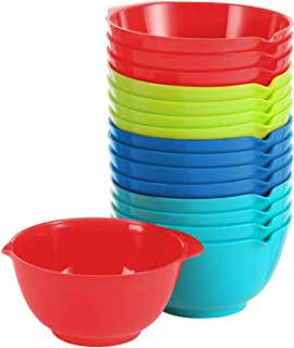 Small Cooking Prep Bowls, 5 Oz Set Of 16 - Red, Green, Blue & Turquoise - Nesting Plastic Finger Mixing Bowls - Mini Kitchen Mise En Place Dishes For Ingredients, Condiments, Sauces, Spices, BPA Free