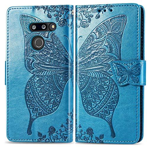 Bravoday Handyhülle für LG G8 ThinQ Hülle, Stoßfest PU Leder Tasche Flip Hülle Schutzhülle für LG G8 ThinQ, mit Kartenfäch und Kickstand, Blau