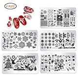 Kylewo Plantillas de Sellos de manicura navideña, Santa Dear Snow Picture Stamp Templates Kit de Estampado DIY Printing Manicure Salon Design