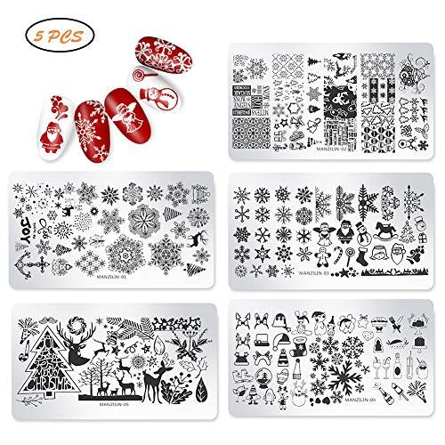 5 stuks kerst nail art stempel sjablonen diy nail art platen kit voor thuis salon gebruik