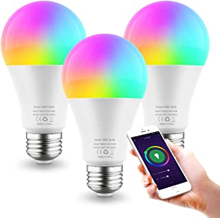Smart Light Bulb E26 9W WiFi Color Changing LED Bulbs Work with Alexa Google Home, Tunable White 2700-6500K Dimmable RGB Lighs Bulb, A19 900Lm, No Hub Required (3 Pack)