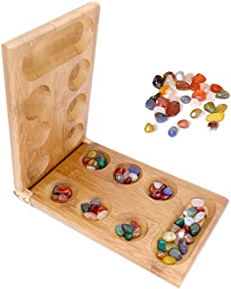 Agirlgle Mancala Game Folding Mancala Board Game Travel Game African Stone Game with Folding Bamboo Board +Multicolored Natural Small Agate Chess Pieces - Smart Tactical Game for Kids and Adults Gift