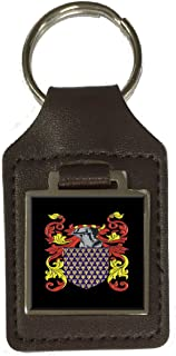 Broadbent Family Crest Surname Coat Of Arms Brown Leather Keyring Engraved