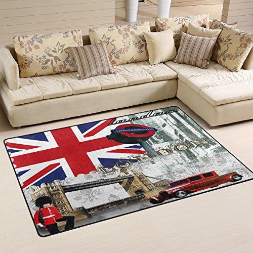 Naanle - Alfombra antideslizante para salón, comedor, dormitorio, cocina, 50 x 80 cm, diseño de la bandera británica de Londres, multicolor, 50 x 80 cm(1.7' x 2.6')