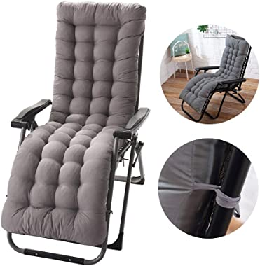 KIAN ABBOTT 61 Inch Patio Chaise Lounger Cushion, Indoor/Outdoor Chaise Lounger Cushions Rocking Chair Sofa Cushion with 6 Ties,Thick Padded Chaise Lounger Swing Bench Cushion (Gray)