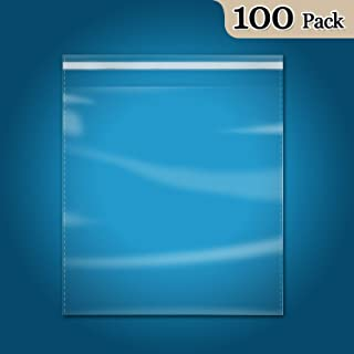 """100 Count - 13"""" x 15"""" Self Seal Clear Cello Cellophane Resealable Plastic Poly Bags for Clothing, T-Shirts, Pants"""