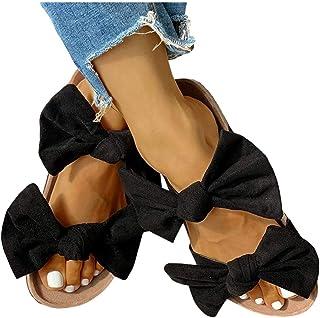 Women's Sandals Bowknot Slide Slippers Girls Flip Flops Roman Flat Slipper Casual Beach Sandal Indoor & Outdoor Shoes Stre...