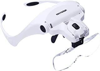 YOCTOSUN Head Mount Magnifier with 2 Led Professional Jeweler's Loupe Light Bracket..