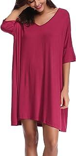 قميص نوم للنساء من Aiboria مقاس كبير قميص نوم نوم برقبة على شكل حرف V وأكمام قصيرة ملابس نوم ناعمة