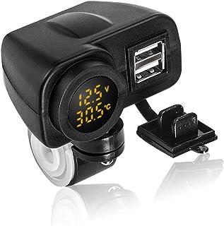 BESTEU Moto t/él/éphone chargeur affichage num/érique moto double USB chargeur voltm/ètre thermom/ètre