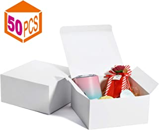 MESHA White Boxes 50 Pack 8x8x4 Inches, White Paper Gift Boxes with Lids for Gifts, Crafting, Cupcake Boxes
