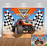 Monster Truck Backdrop Photography Photo Booth Props Children Happy Birthday Banner Supplies Grave Digger Speed Checkered Flag Photo Background Baby Shower Cars Party Decoration 5x3ft Vinyl