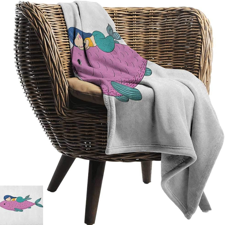 Warm Blanket Mermaid Baby Mermaid Sleeping on Top Giant Fish Happy Best Friends Kids Nursery Theme Anti-Static Throw50 Wx60 L