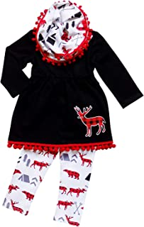 So Sydney Toddler Girls 3 Pc Winter Christmas Holiday Ruffle Tunic Outfit, Scarf