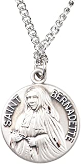 Sterling Silver Catholic Patron Saint Dime Size Medal Pendant, 3/4 Inch