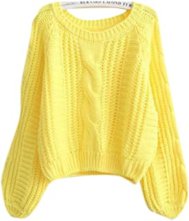 Lingswallow Women's Cable Knitted Loose Crop Top Sweater Pullover Jumper