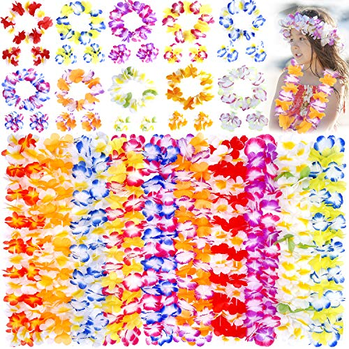 Hawaiian Leis, luau Party Supplies, 40Pcs Thickened Garland Flower Leis, Tropical Hawaiian Party Necklace, Headbands and Wristbands, Kids and Adults Party Supplies, Hawaiian Luau Decorations, Summer Beach Vacation, Tropical themed Party Favors, Birthday, Easter