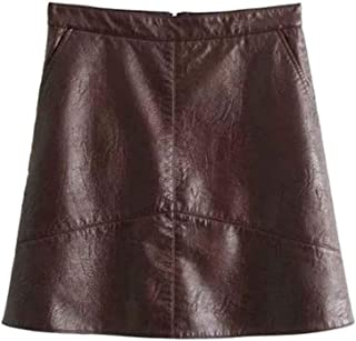 Women Basic Solid Pu Leather Skirts Brief Pockets Back Streetwear Mini Skirts