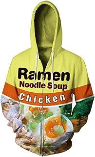 LJFKDFSC Unisex Fleece Zipper Printed Chicken Ramen Noodle Soup 3D Sweatshirt