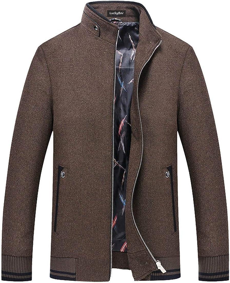 LuckyBov Men Wool Full Zipper Business Winter Jacket Windproof Motorcycle Outdoor Coat