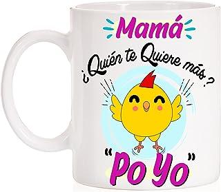 Taza Mamá ¿ quién te quiere más ? Poyo . Taza divertida de la frase del pollo de regalo para el día de las madres