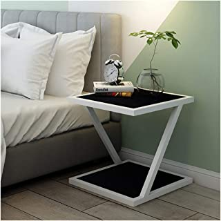 QL Side End Table Nordic Solid Wood Simple Home Bedroom Hotel Modern Metal Drawer Storage Side End Table,606050cm