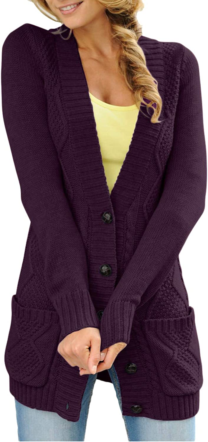 Actloe Women Open Front Button Down Long Sleeve Sweater Cardigan Outwear with Pocket