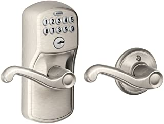 Schlage FE575 PLY 619 FLA Plymouth Keypad Entry with Auto-Lock and Flair Levers, Satin Nickel