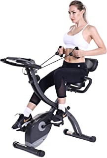 MaxKare 3 in1 Folding Magnetic Upright Exercise Bike w/Pulse, Indoor Stationary Bike with Adjustable Arm Resistance Bands and LCD Monitor