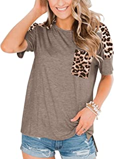 PRETTODAY Women's Short Sleeve Tops Leopard Print Tunics Round Neck Shirts with Pocket