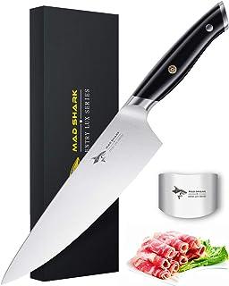 MAD SHARK Cuchillo de Chef Pro Cuchillo de Cocina Cuchillo de Chef de 8 Pulgadas, Cuchillo de Acero Inoxidable de Alto Carbono Alemán de la Mejor Calidad con Mango Ergonómico, Ultra Afilado