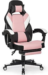 Intimate WM Heart Chaise de Bureau Gaming en Similicuir, Fauteuil Racing Inclinable, Siège Ergonomique Pivotant (Rose)