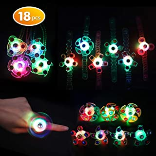 Balhvit 18 Pcs Glow in The Dark Party Supplies, Nontoxic & Safe Led Party Favors For Kids Prize(8 Spinner Rings, 6 Bracelets & 4 Necklaces with Diamond), Light Up Toys For Birthday Halloween Christmas
