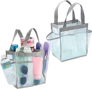 mDesign panier de salle de bain à poignée (lot de 2) – rangement cosmétiques, ou sac de rangement pour la plage – avec ans...