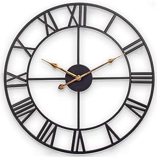 Große Wanduhr, Europäische Retro-Uhr mit Großen Römischen Ziffern, Leise Batteriebetriebene Metalluhr für Zu Hause, Wohnzimmer, Küche und Arbeitszimmer - 76cm Metall, Schwarz