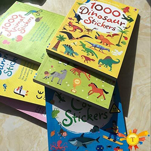 HUNSHA Children 1000 reusable cartoon stickers/Kids baby animal/dinosaur/princess/motion sticker books for kindergarden schools