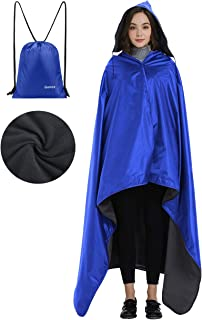 Gonex Hooded Stadium Blanket, Waterproof Windproof Outdoor Fleece Blanket, Warm Blanket for Cold Weather Camping, Beach, Picnic, Sports, Stadium, Travel, Large/Small Size with a Drawstring Backpack