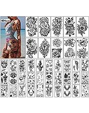 Tijdelijke tatoeages 40 vellen grote bloemen nep tattoo collectie waterdichte tijdelijke stickers voor kinderen vrouwen of meisjes geschenken en decoratie