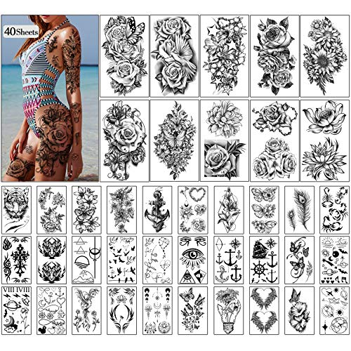 Metuu 40 Sheets Large Black Peony Rose Flowers Lady Long Lasting Waterproof Temporary Tattoo 3D Girls Arm Hand Collarbone Leg Tattoos Stickers for Women Gift or Decoration(10 Large & 30 Tiny)