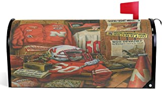 Realfits Vintage American Football Mailbox Cover Retro Nebraska Football Team Mailbox Covers Magnetic Mailbox Wraps Standard Size 18