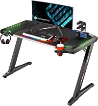 EUREKA ERGONOMIC Z2 Computer Gaming Desk with Retractable Cup Holder Headset Hook RGB Light for Men Boyfriend Female Gift