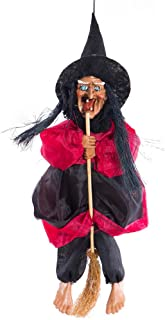 Shan-S Halloween Witch Hanging Decoration,Ride Broom Witch Ghost Pendant Sound-Controlled Touch Sensing Flying Witch Halloween Props Large Ride Scary Ghost Dolls Witch Broom Toys