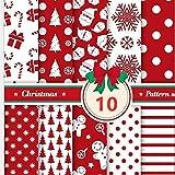 LICHENGTAI 10 Stück Weihnachten Muster Baumwollstoff,
