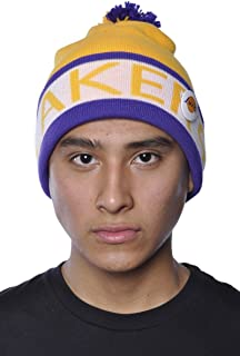 Los Angeles Lakers Beanie Vintage NBA Mitchell Ness Pin Yellow One Size