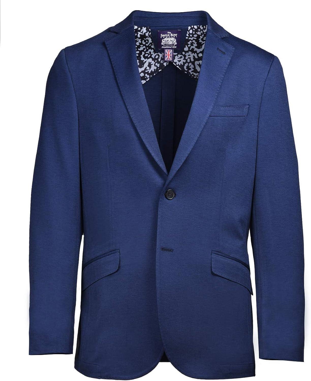 Savile Row Co. Men's Slim Fit Navy Stretch Knit Casual Blazer Jacket Sport Coat